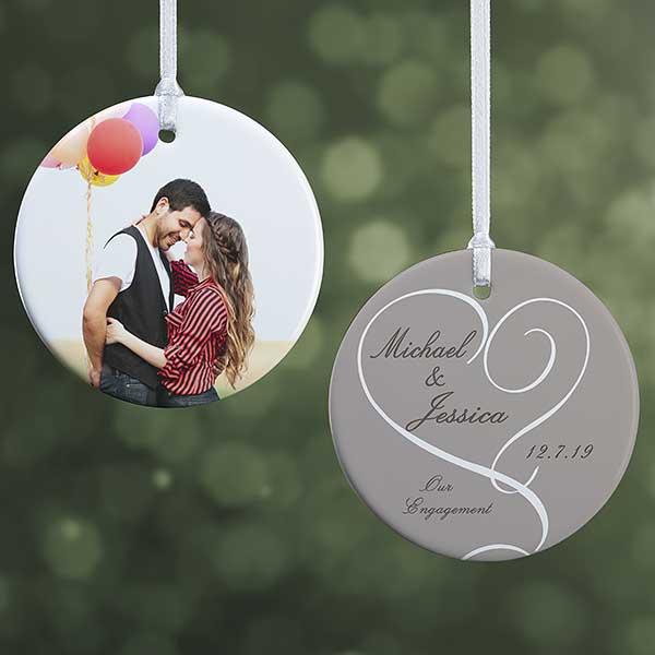 Personalized Engagement Photo Christmas Ornaments 2 Sided