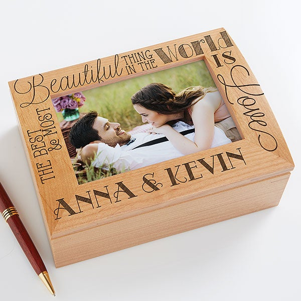 Personalized Wood Photo Memory Box - Love Quotes - 14851