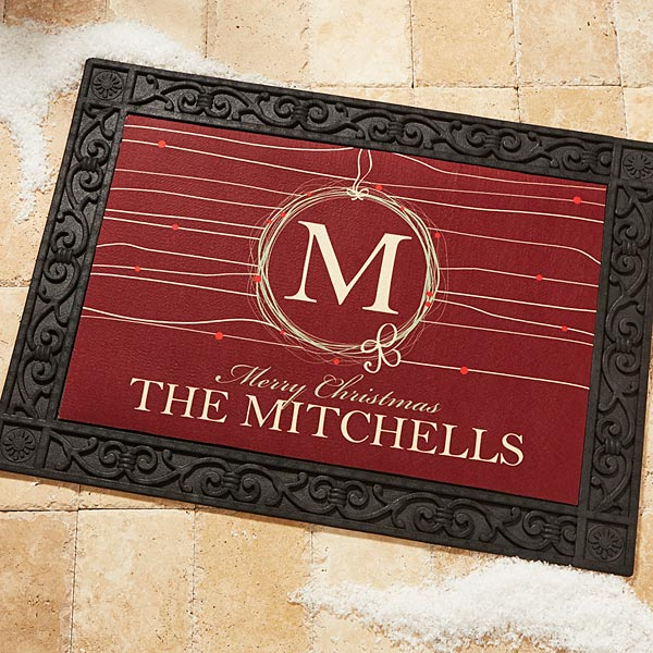 Personalized Christmas Doormat - Holiday Wreath - 14872