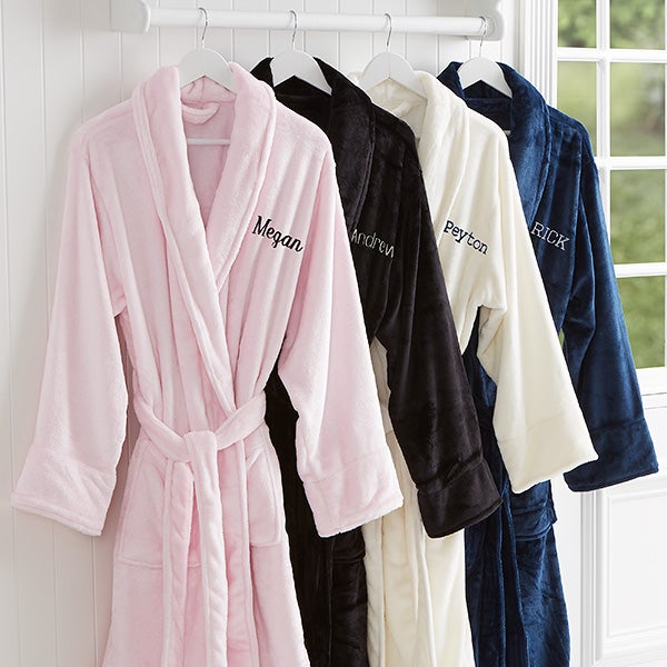Embroidered Luxury Fleece Robe - Just For Her - 14894