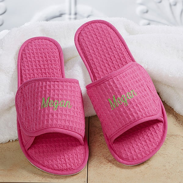 Personalized Waffle Weave Spa Slippers - Pink - 14905