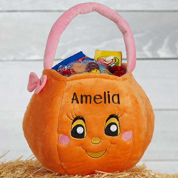 Personalized Halloween Pumpkin Girls Plush Trick or Treat Bag - 14971 f9e7d7f5e602