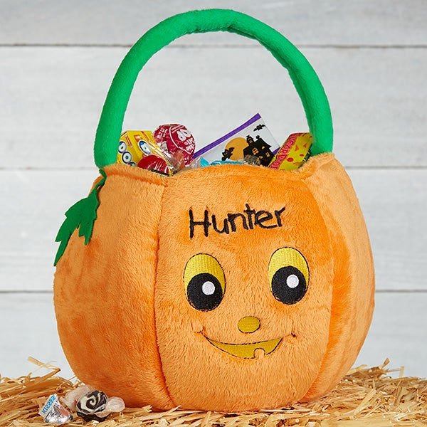 Personalized Halloween Pumpkin Boys Plush Trick or Treat Bag - 14972