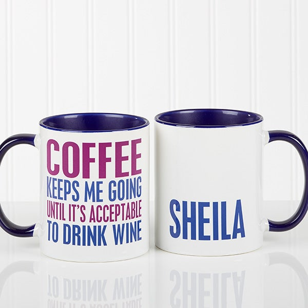 Personalized Funny Coffee Mug - Shhh There's Wine In Here - 15040
