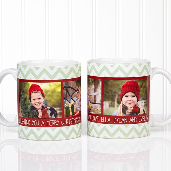 Personalized Photo Christmas Mug - Chevron - 15041