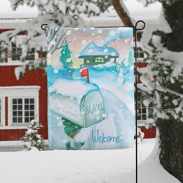 Personalized Winter Garden Flag - Enchanted Snow Escape - 15060