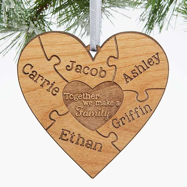 Personalized Puzzle Wood Christmas Ornament - Together We Make A Family - 15089