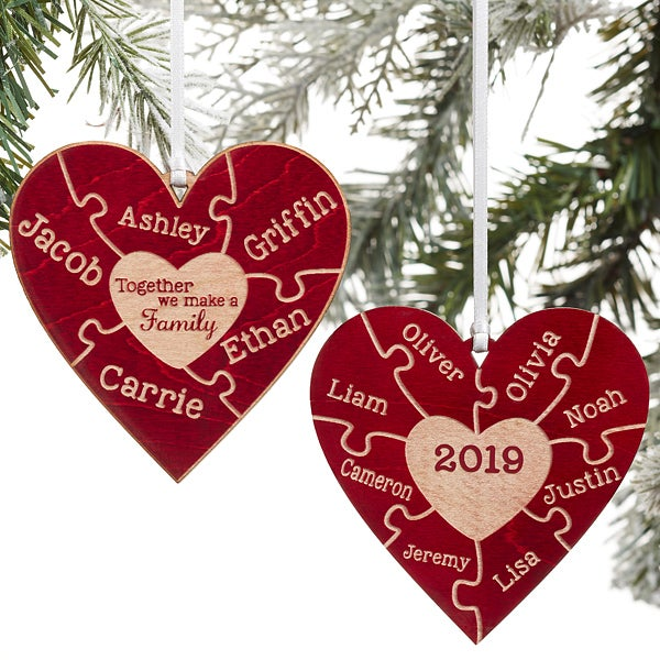 Christmas Ornaments With Names On Them.Together We Make A Family 2 Sided Red Wood Ornament
