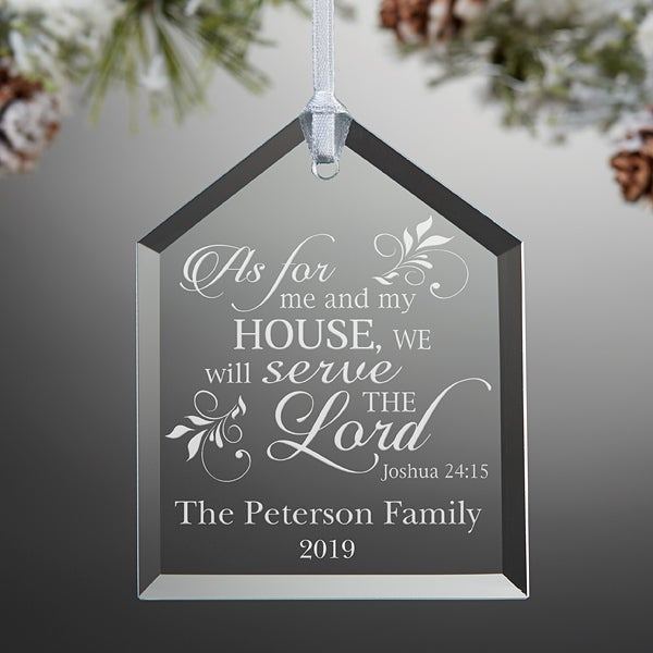 Religious Christmas Gifts.We Will Serve The Lord Engraved Ornament