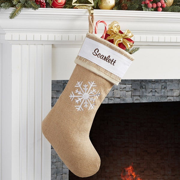 Burlap Christmas Stockings.Personalized Burlap Christmas Stockings Rustic Chic Burlap Snowflake