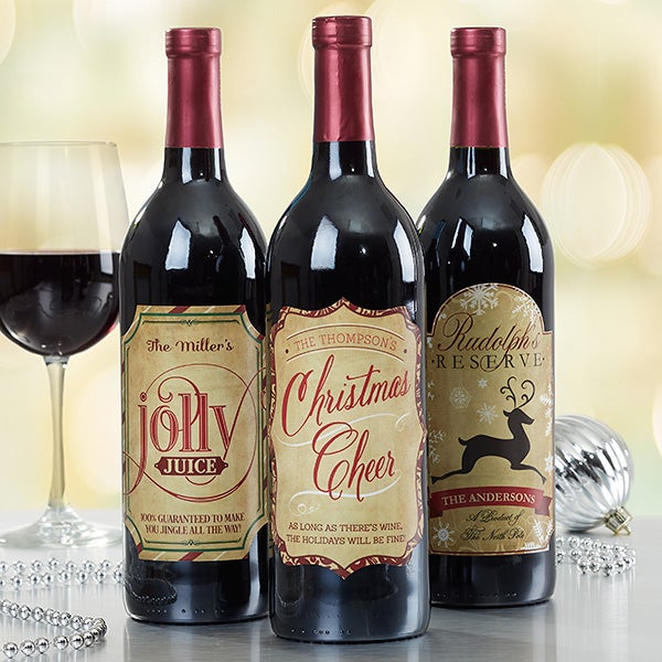 Very Merry Christmas Personalized Wine Bottle Labels