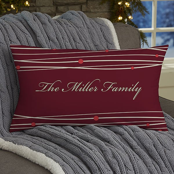 Personalized Christmas Throw Pillow - Holiday Wreath - 15119