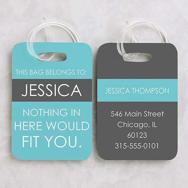 62932b91130b Full Of Wit Personalized Luggage Tag 2 Pc Set