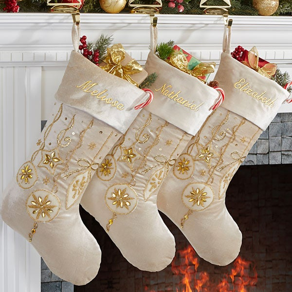 Personalized Ivory And Gold Jeweled Christmas Stockings Yuletide 15127