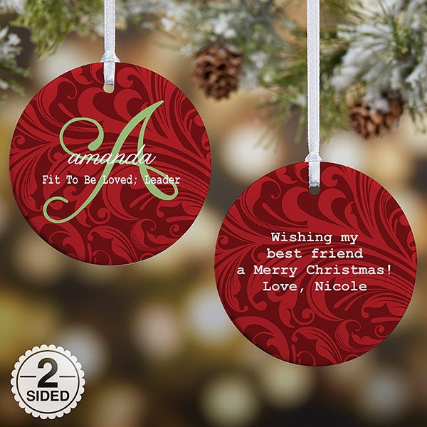Personalized Christmas Ornament - Name Meaning - 2 Sided - 15146 - Personalized 2-Sided Christmas Ornament - Name Meaning - Christmas