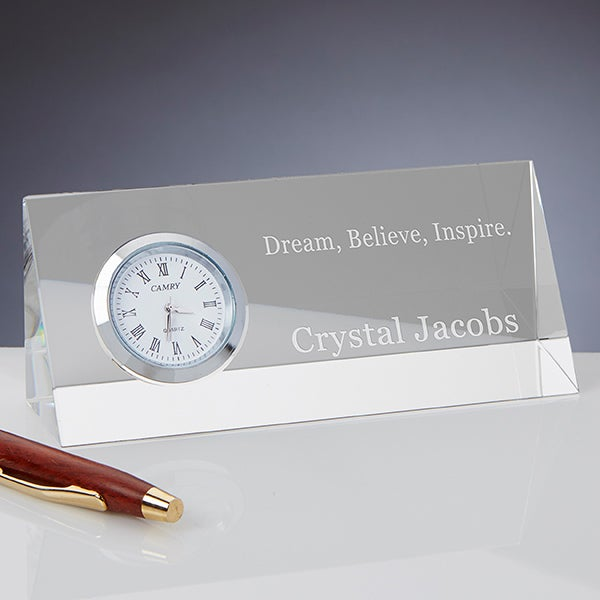Personalized Crystal Desk Clock Nameplate - Inspiring Quotes - 15147