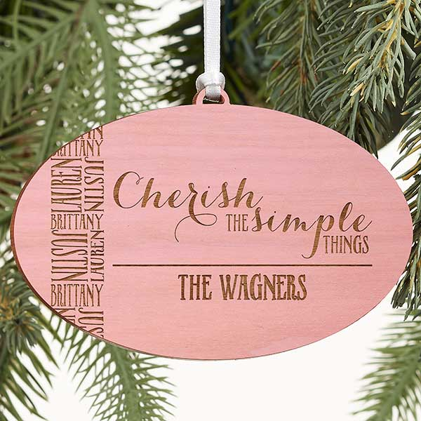 Cherish The Simple Things Personalized Pink Wood Ornament