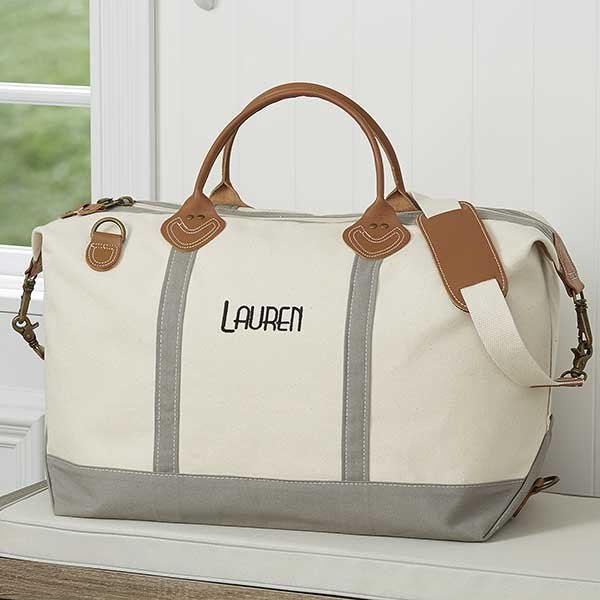 Luxurious Weekender Embroidered Grey Canvas Duffel Bag