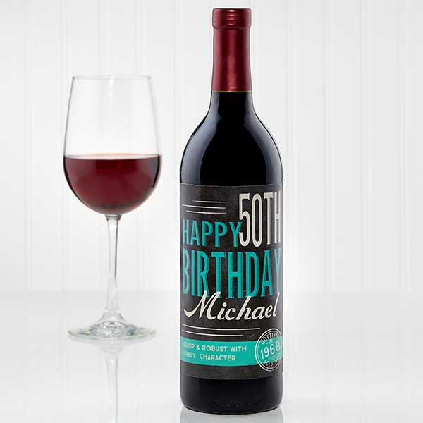 Personalized Birthday Wine Bottle Label - Vintage Age - 15177