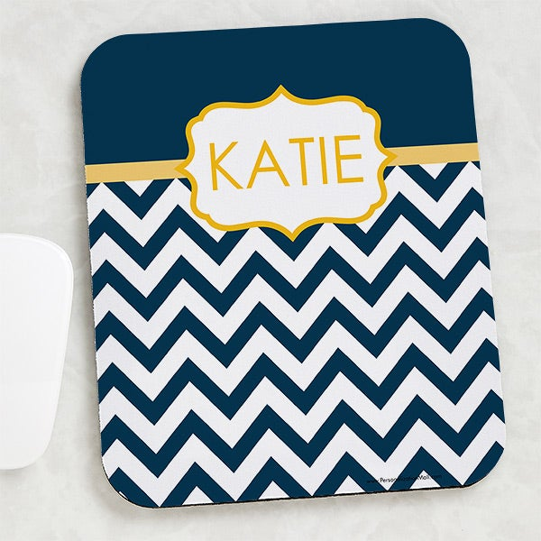 Personalized Chevron Mouse Pad - Preppy Chic - 15200