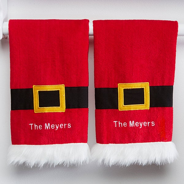 Personalized Christmas Kitchen Towel Set - Santa's Belt - 15211