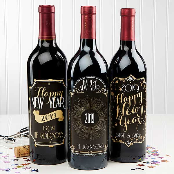 personalized happy new year wine bottle labels 15219