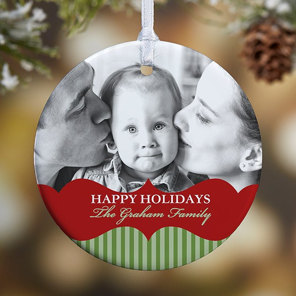 Personalized 2-Sided Photo Christmas Ornament - Classic Holiday - 15248