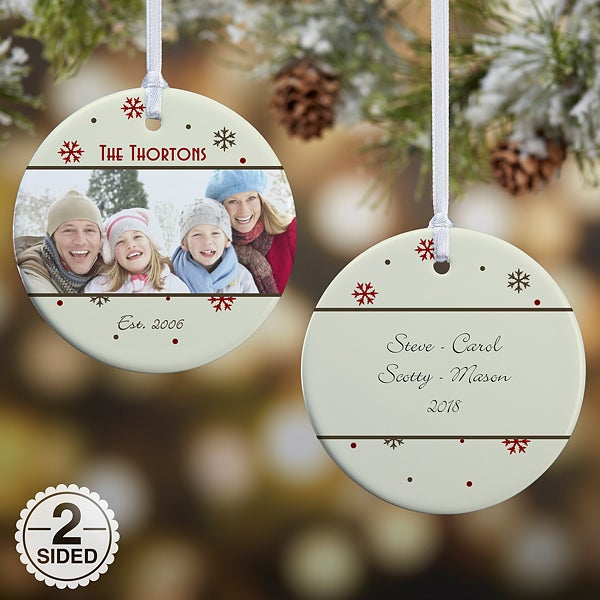 Personalized 2-Sided Photo Christmas Ornament - Snowflake - 15253