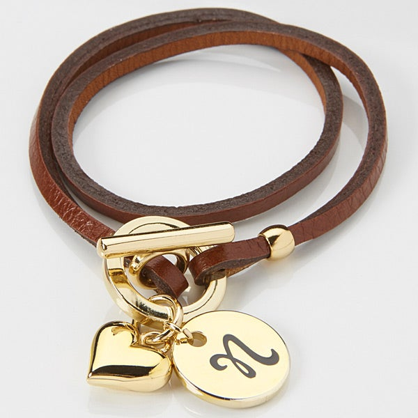 15346d brown leather wrap personalized charm bracelet