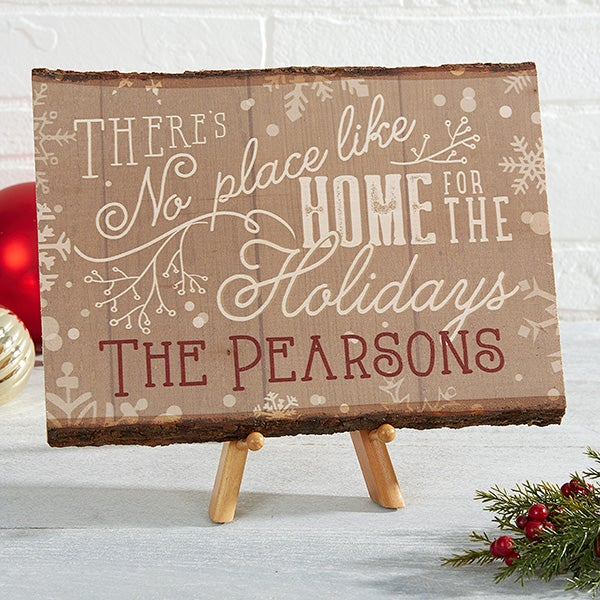 Personalized Christmas Basswood Plank Sign - There's No Place Like Home - 15355