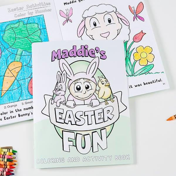 Personalized Coloring Activity Book & Crayon Set - Easter Fun!