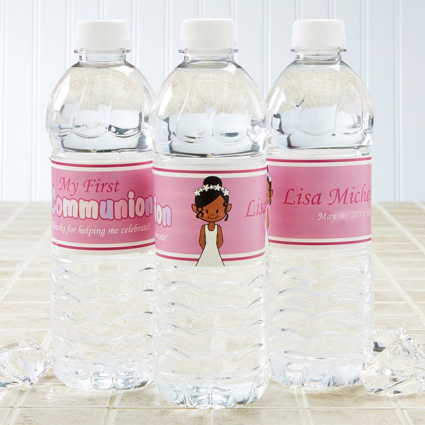 Personalized Water Bottle Labels - First Communion Girl - 15402
