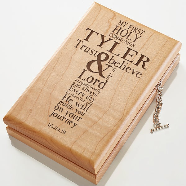 engraved wood valet box first communion