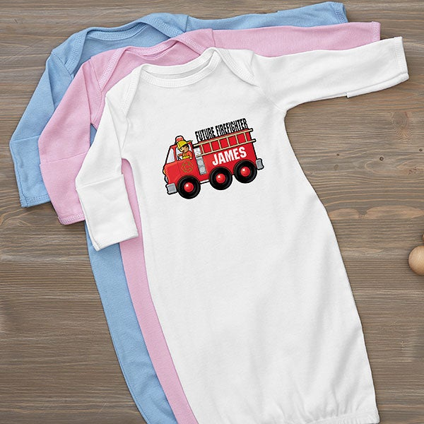 Personalized Jr. Firefighter Baby Gown