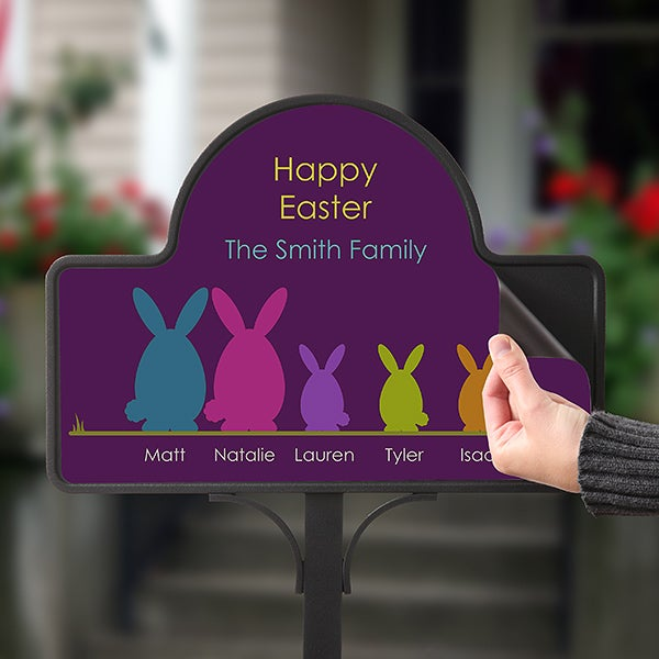 Personalized Garden Stake & Sign - Easter Bunny Family - 15438