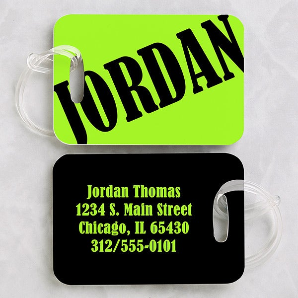 Personalized Neon Luggage Tag Set - 15446