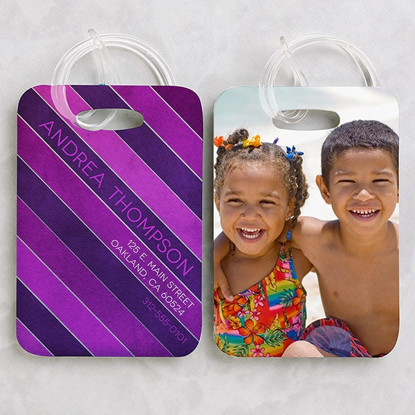 Personalized Photo Luggage Tag Set - Stripes - 15447