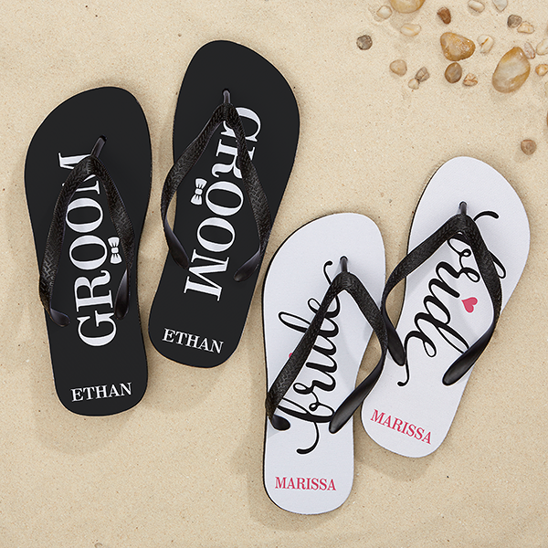 fe3efc041f87 Personalized Wedding Adult Flip Flops - Just Married - 15491