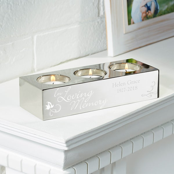 Personalized Memorial 3 Tea Light Candle Holder - In Loving Memory - 15496
