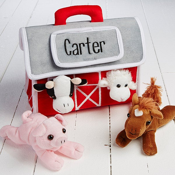 Personalized Plush Barn With 4 Farm Animals - 15528