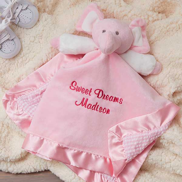 Personalized Elephant Baby Blankie - Pink - Baby Gifts d6bca03aa