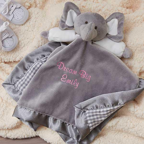 Personalized Elephant Baby Blankie Grey