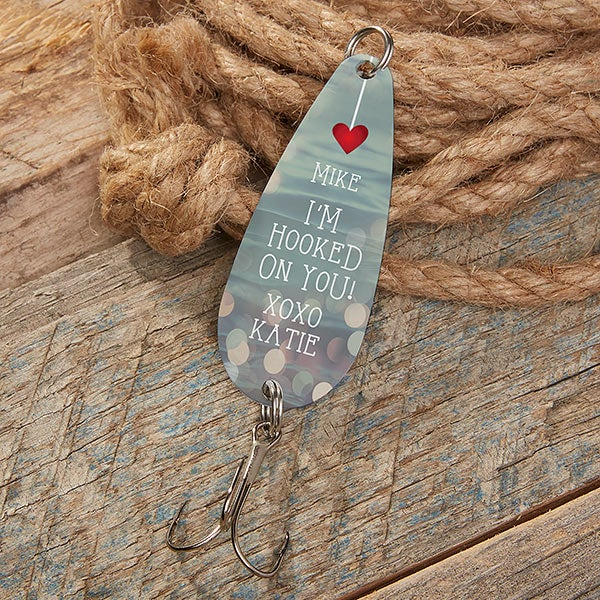 Gift for Fisherman FISH ON Fish Hook Custom Gifts Custom Fishing Lure Upcycled Fishing Lure Hand Stamped Fishing Lure