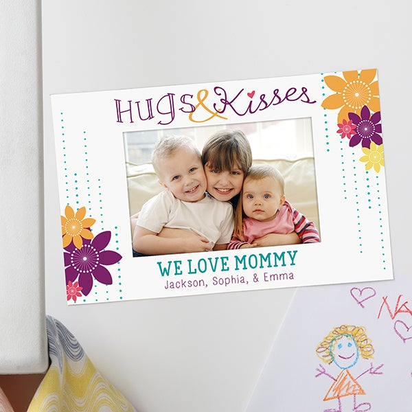 Personalized Photo Magnet Frame - Hugs & Kisses - 15559