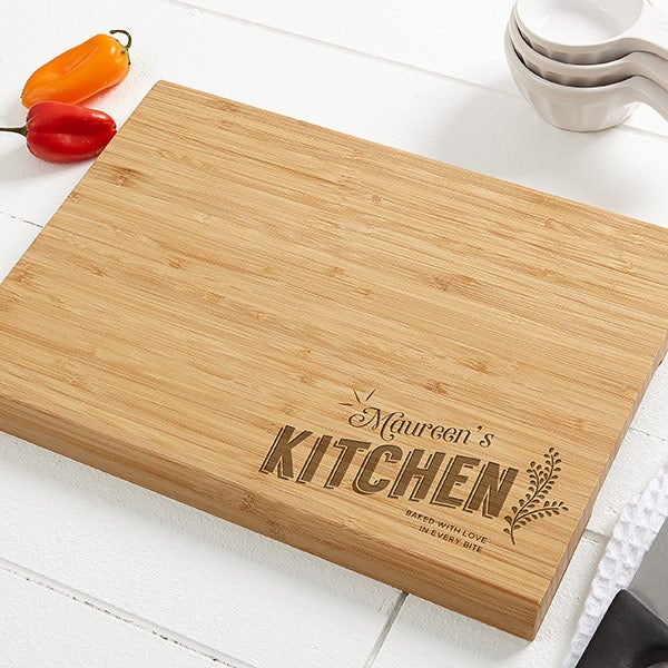 Her Kitchen Personalized Bamboo Cutting Board - 10x14