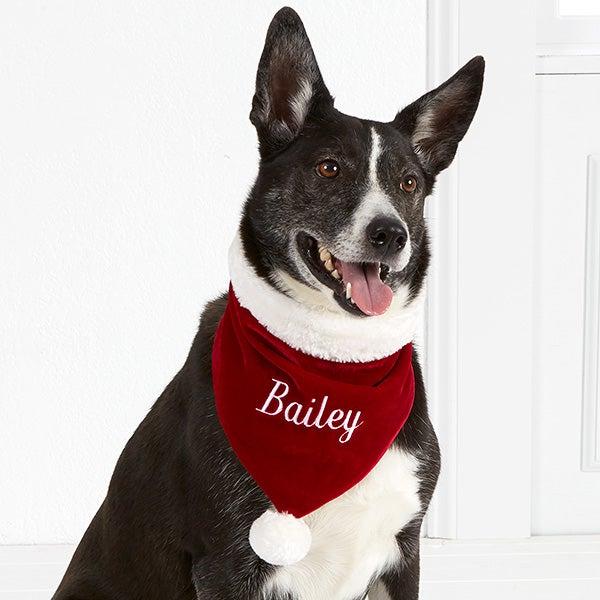 Personalized Velvet Christmas Dog Bandana - Santa Paws - 15608