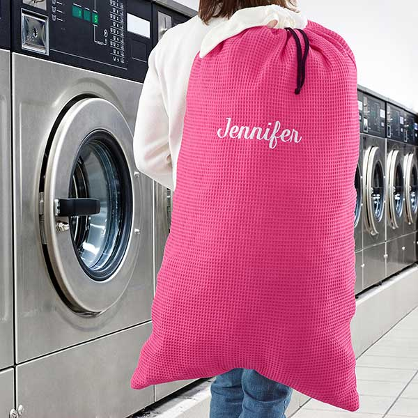f4adfb542ffe Embroidered Pink Laundry Bag