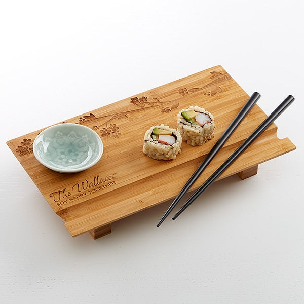 Personalized Sushi Board 3 Piece Set - Cherry Blossom - 15615