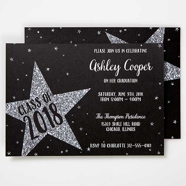 personalized graduation invitations shining star