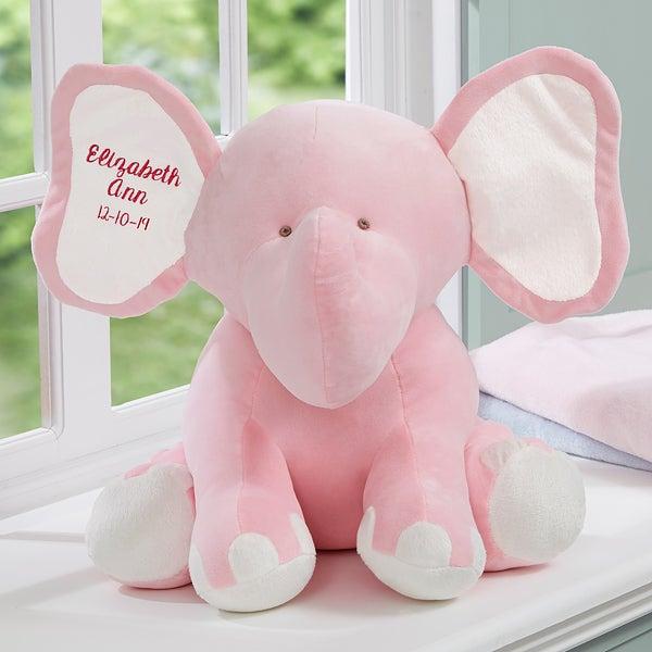 Embroidered Jumbo Plush Baby Elephant Pink Baby Gifts